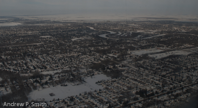 An aerial view of Winnipeg, Manitoba in the grasp of winter.