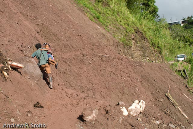 A resident of Cascade carries a child over a landslide on November 28 2008.