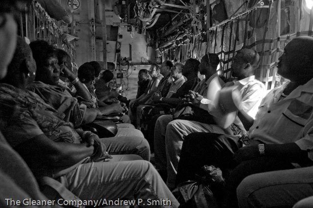 Aboard the Royal Canadian Air Force Hercules transportation plane that evacuated foreign nationals from Haiti on March 1 2004.