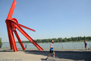 Running along the Rhine