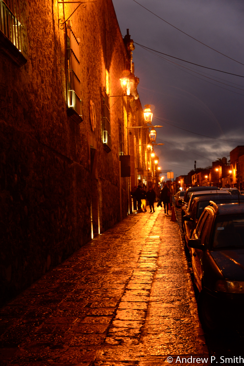 Twilight on the streets of San Miguel de Allende.